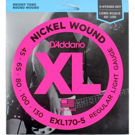 Cordes Baix D'Addario EXL170-5 Nickel Wound 45-130 5 Strings