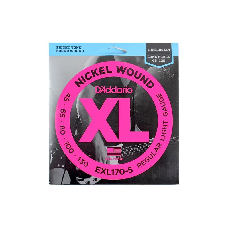 Cuerdas-Bajo-D´Addario-EXL170-5 Nickel Wound 45-130