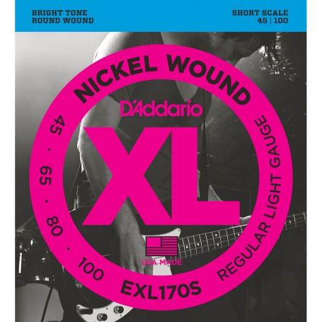 Cuerdas-Bajo-D'Addario-EXL170S Nickel Wound Short Scale 45-100