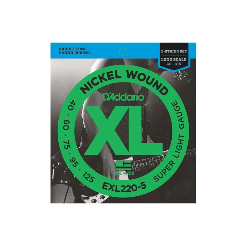 Cuerdas Bajo D´Addario EXL220-5 Nickel Wound 40-125 5 Strings-5_Nickel_Wound_40-125_