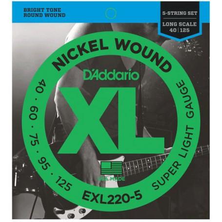 Cuerdas Bajo D´Addario EXL220-5 Nickel Wound 40-125 5 Strings