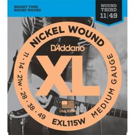 Cuerdas Eléctrica D´Addario EXL115W 11-49 Third Wound