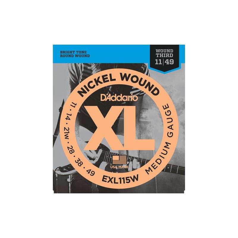 Cuerdas-Eléctrica-D´Addario EXL115W Nickel Wound 11-49 Third Wound
