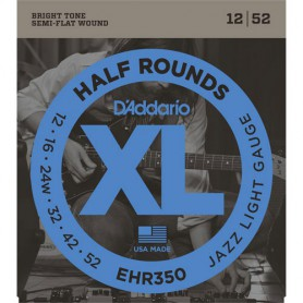 Cuerdas Eléctrica D´Addario EHR350 Half Rounds 12-52 Jazz Light Gauge