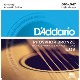 Cuerdas Acústica D´Addario EJ38 Phosphor Bronze 12 Strings 10-47