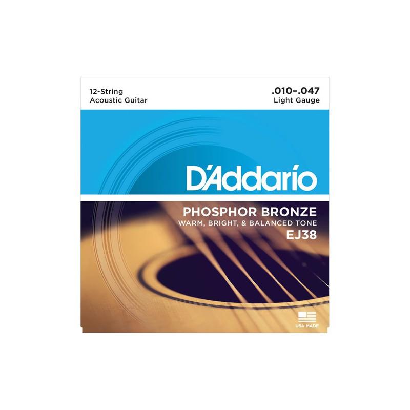 Cuerdas-Acústica-D´Addario-EJ38 Phosphor Bronze 12 Strings 10-47