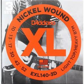 Cuerdas Eléctrica D´Addario EXL140-3D 10-52 3 sets