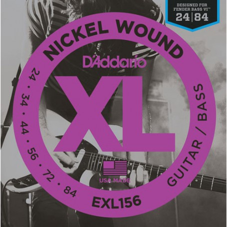 Cuerdas-Eléctrica-D´Addario EXL156 Guitar-Bass 24-84