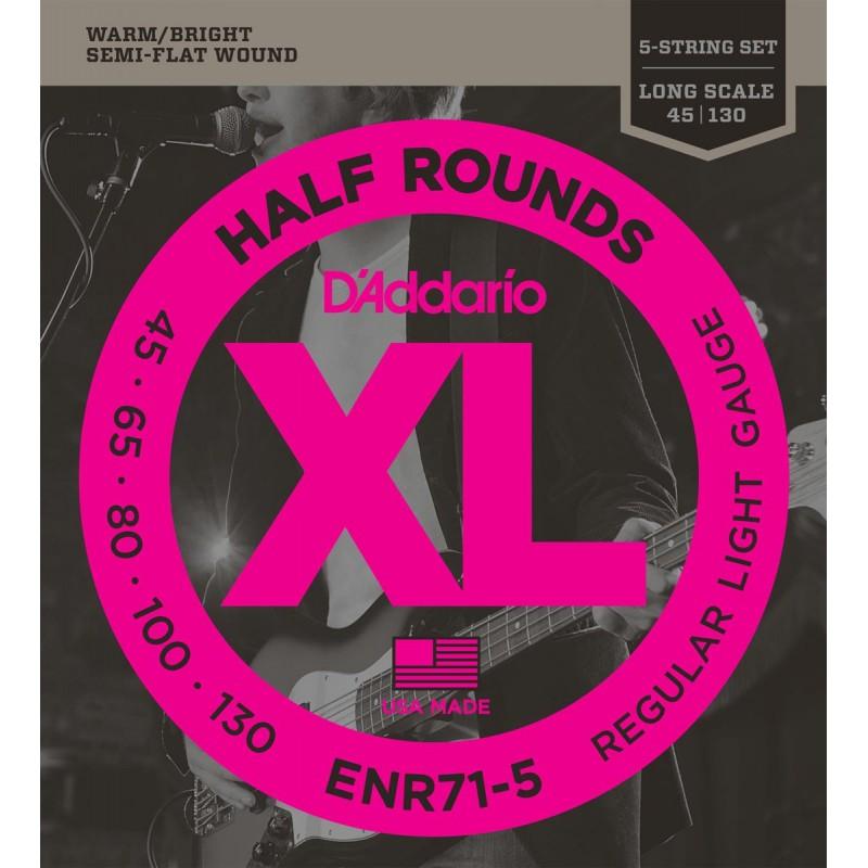 Cuerdas_Bajo_DAddario_ENR71-5_Half_Rounds_45-130_Semi_Flatwound