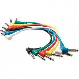 Cable Patch Rockcable para Pedales 60 cm. Jack Acodado 6 Pack