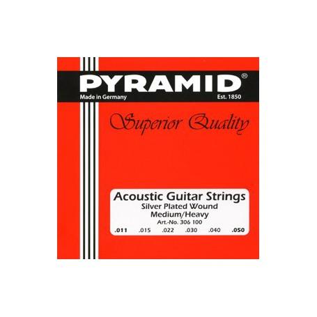 Cuerdas de Acústica Pyramid Silver Plated Wound Medium-Heavy 11-50