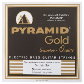 Cuerdas de Bajo Pyramid 640 Gold Chrome Nickel Flatwound Bass Strings 40-100 Short Scale