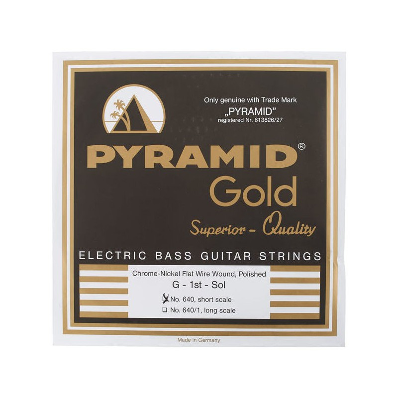 Cordes de Baix Pyramid 640 Gold Chrome Nickel Flatwound Bass Strings 40-100 Short Scale