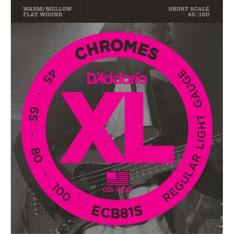 Cuerdas Bajo D´Addario Chromes ECB81S Flatwound 45-100 Short Scale