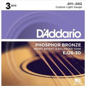Cuerdas Acústica D´Addario EJ26-3D Phosphor Bronze 11-52 3 Set Pack