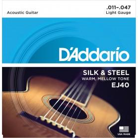 Cuerdas Acústica D´Addario EJ40 Silk & Steel 11-47