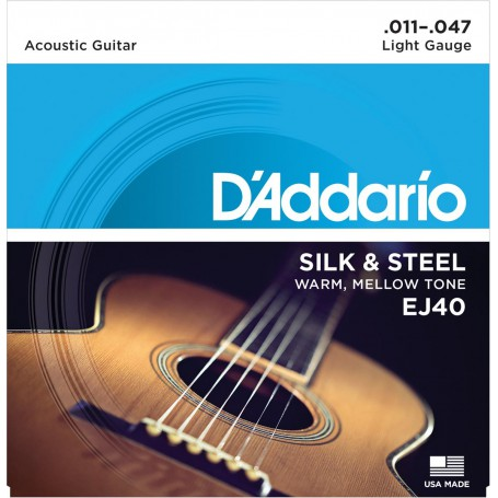 Cuerdas Acústica D´Addario EJ40 Silk & Steel 11-47-47