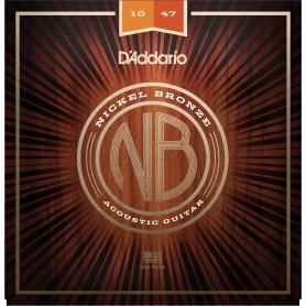 Cuerdas Acústica D´Addario Nickel Bronze NB1047 10-47