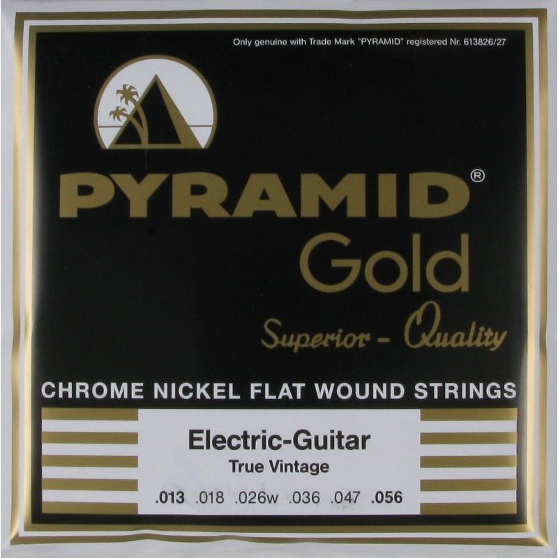 Cuerdas Eléctrica Pyramid Gold Flatwound 13-56