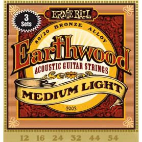 Cuerdas Acústica Ernie Ball 3003 Earthwood Bronze Light 12-54 3-Pack