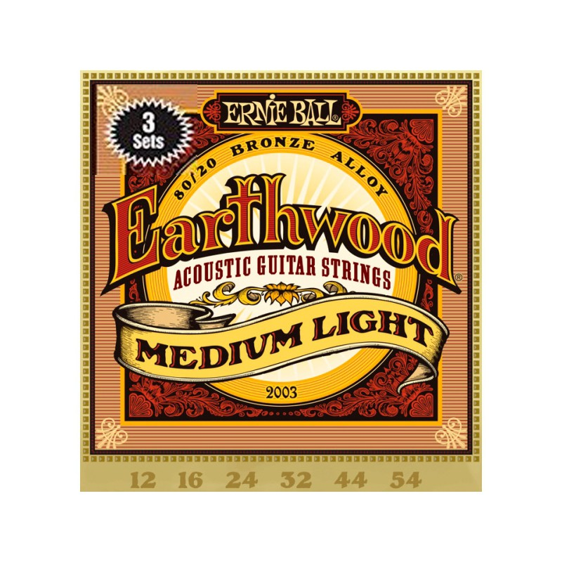 Cuerdas Acústica Ernie Ball 3003 Earthwood Bronze Light 12-54 3-Pack