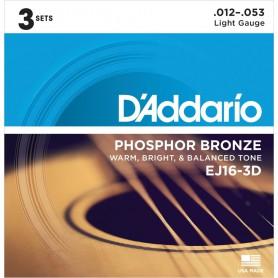Cordes Acústica D'Addario EJ16-3D Phosphor Bronze 12-53 Light