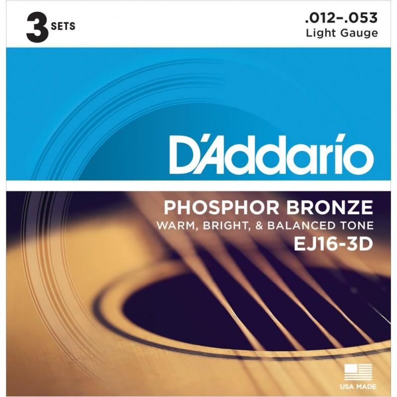 Cuerdas-Acústica-D´Addario-EJ16-3D Phosphor Bronze 12-53 Light
