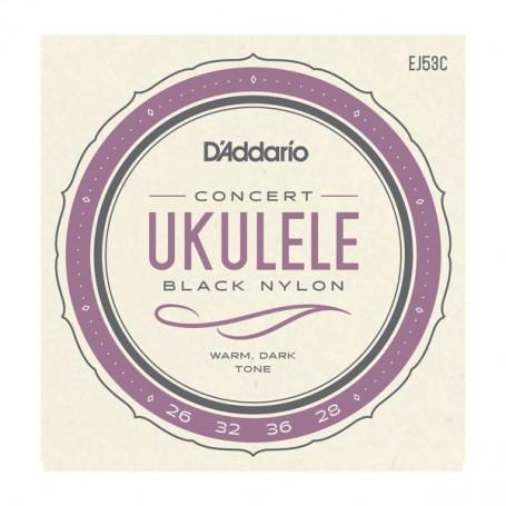 Cuerdas Ukelele D´Addario EJ53C Concert Black Nylon