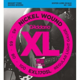 Cordes Baix D'Addario EXL170SL Nickel Wound 45-100 Super Long Scale