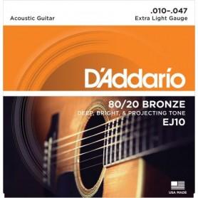 Cordes Acústica D'Addario EJ10 80/20 Bronze 10-47