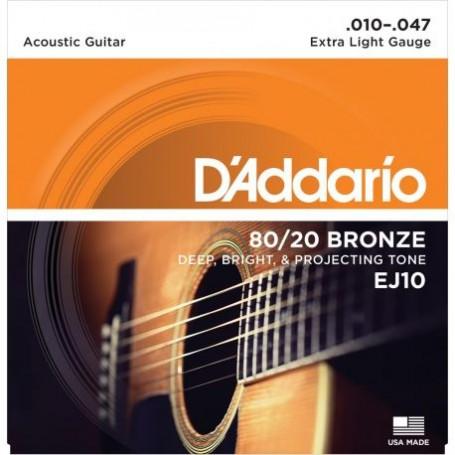 Cuerdas Acustica D'Addario EJ10 80/20 Bronze 10-47