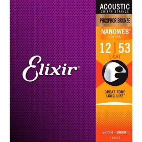 Cuerdas Acústica Elixir Nanoweb Phosphor Bronze Light 12-53 16052