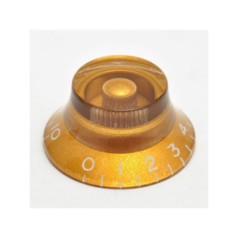 Botó de potenciòmetre daurat tipus campana