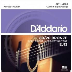 52 Cordes Acústica D'Addario EJ13 80/20 Bronze 11-52