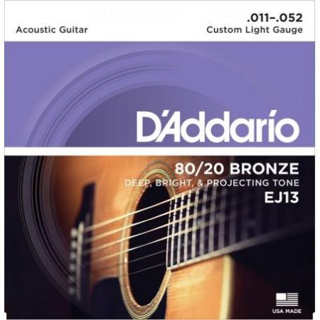 Cuerdas_Acystica_DAddario_EJ13_Bronze_80-20_11-52_Custom_Light_