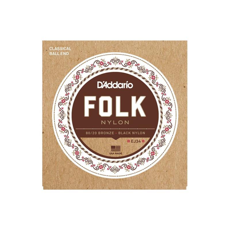 Cuerdas Clásica D´Addario EJ34 Folk Nylon Broze Basses Ball End