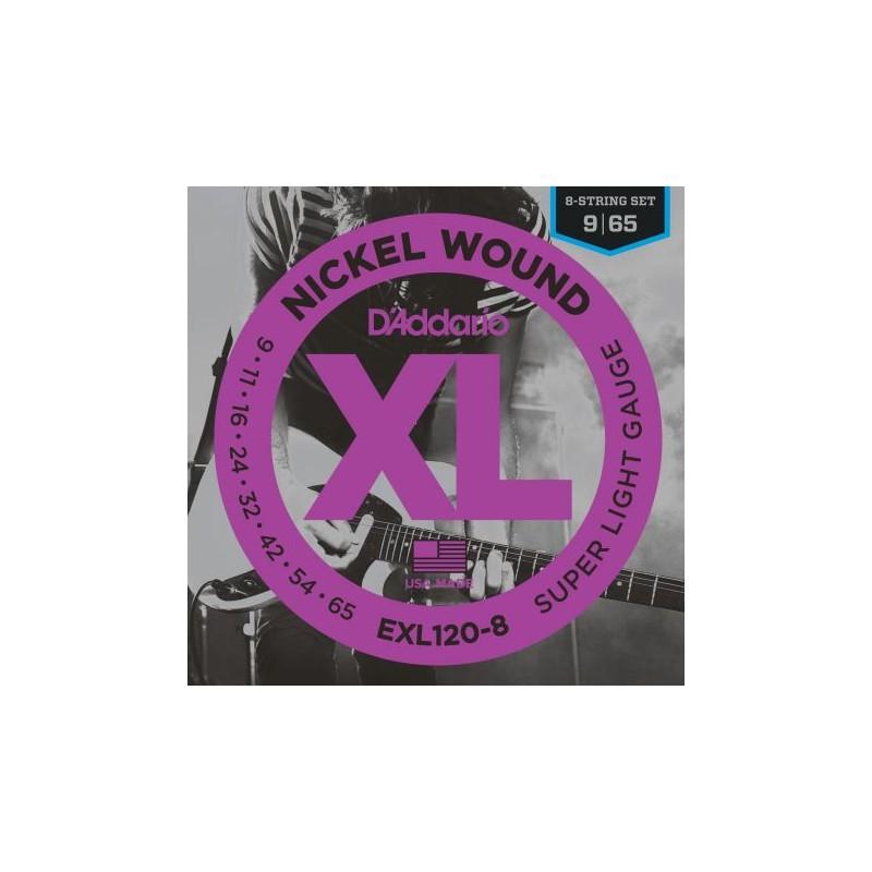Cuerdas Electrica D'Addario EXL120-8 09-65 8 Strings