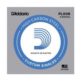 Cuerda suelta D´Addario PL008 plana para eléctrica y acústica
