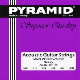Pyramid Acoustic Guitar Strings Silver Plated Round Wound Heavy 12-52