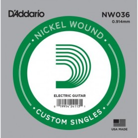 D'Addario Nickel Wound Electric Single String NW036