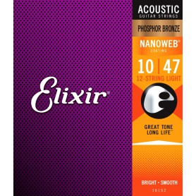 Elixir Nanoweb Phosphor Bronze Light 10-47 12 Strings