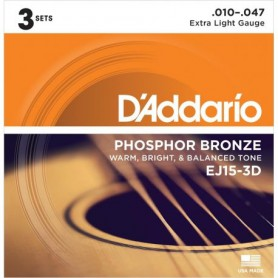 Cuerdas Acústica D´Addario EJ15-3D Phosphor Bronze 10-47 3 Set Pack