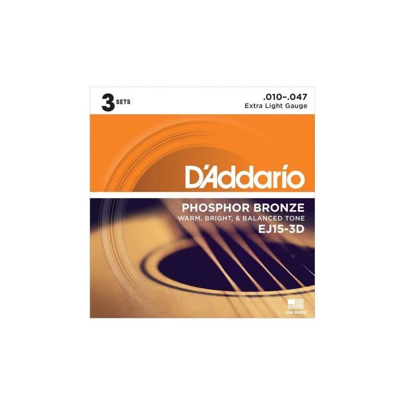 Cuerdas Acústica D´Addario EJ15-3D Phosphor Bronze 10-47 3 Set Pack-3DPhosphorBronze10-47