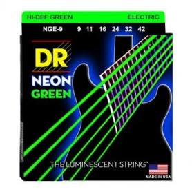 DR Strings NGR-9 Neon Electric Strings 09-42 Green