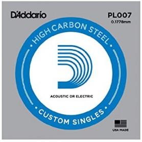 Cuerda suelta D´Addario PL007 plana para eléctrica y acústica