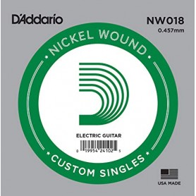 D'Addario Nickel Wound Electric Single Strings NW018
