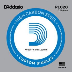 D'Addario Nickel Plain Electric/Acoustic Single String PL020