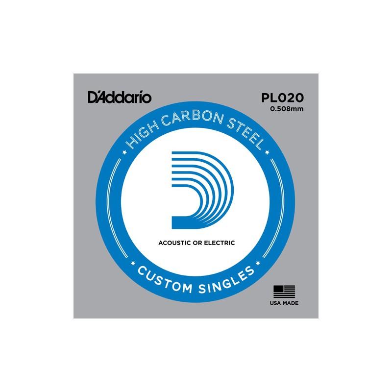 Cuerda suelta D´Addario PL020 plana para eléctrica y acústica