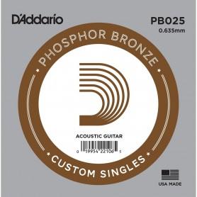 Cuerda Suelta D'Addario PB025 Acústica Phosphor Bronze