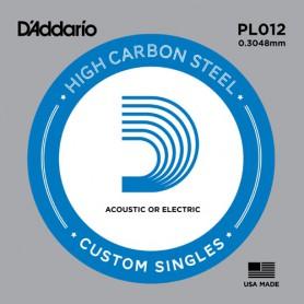 Cuerda suelta D´Addario PL012 plana para eléctrica y acústica